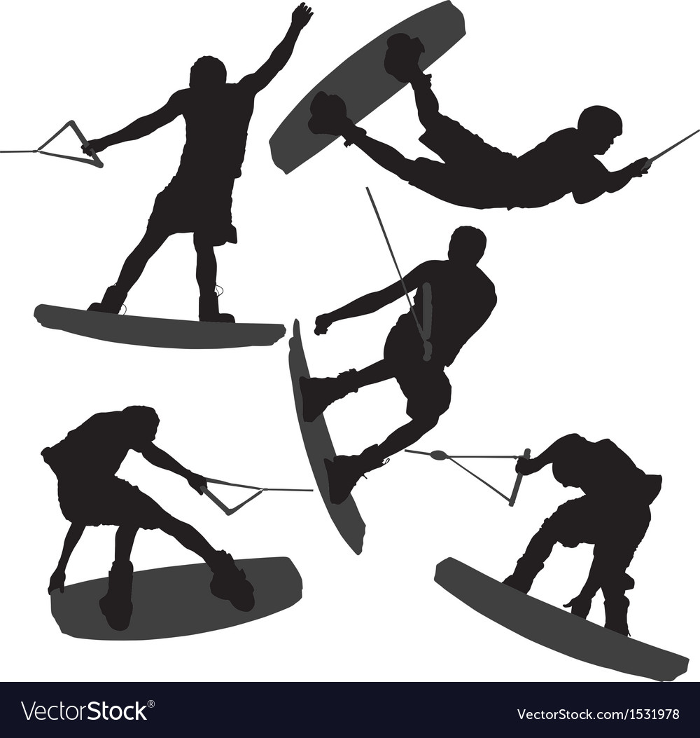 Wakeboarding Silhouette vector image