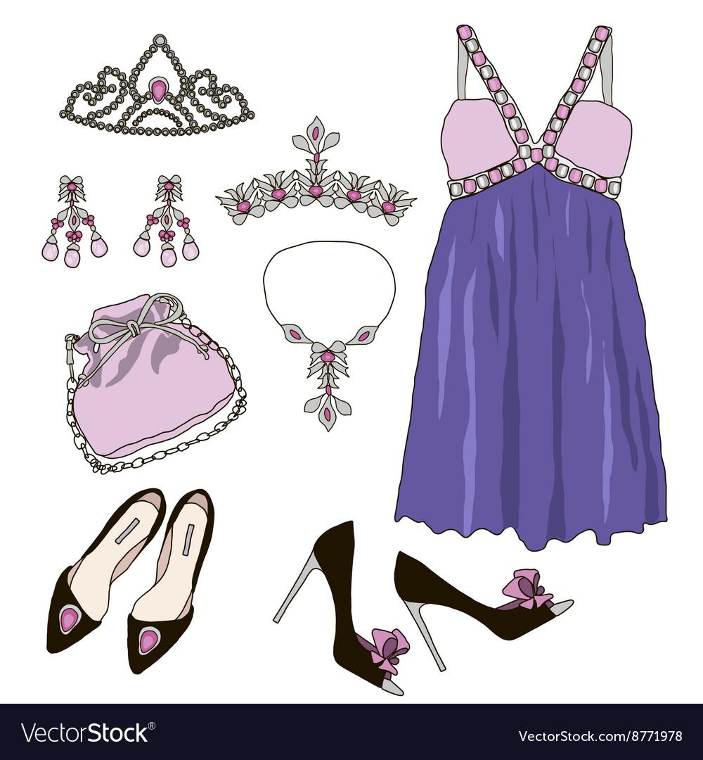 Woman wardrobe clothes accessories set