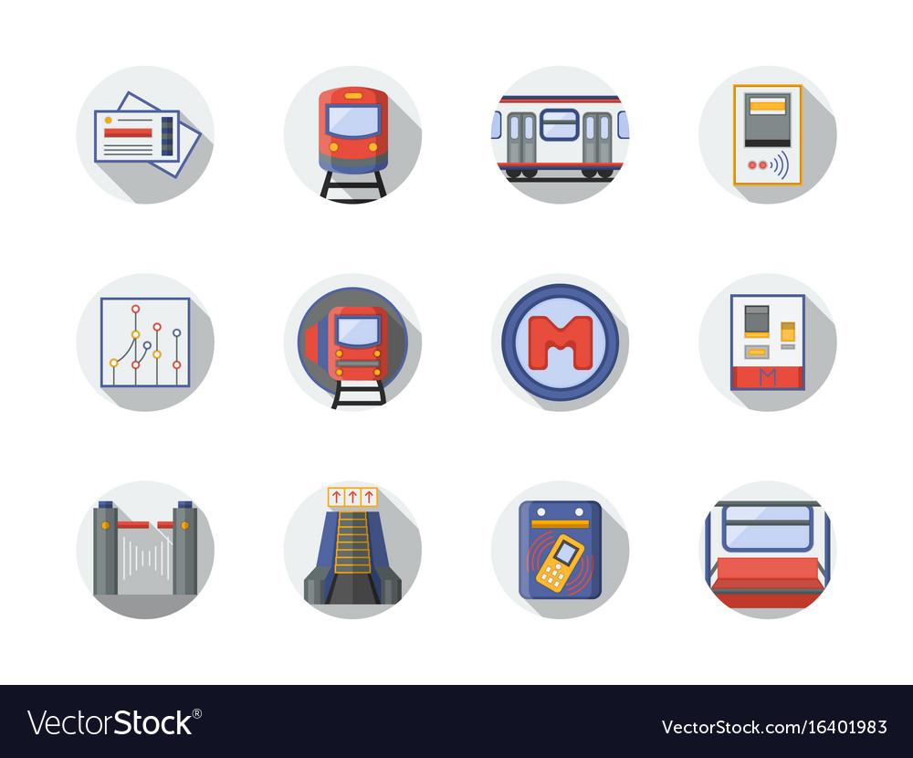 City metro flat round icons