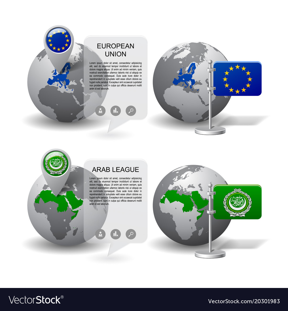 Gray earth globes with designation of european