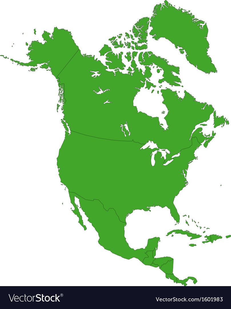 green north america map royalty free vector image rh vectorstock com north america vector map with states and provinces north america vector map with states and provinces
