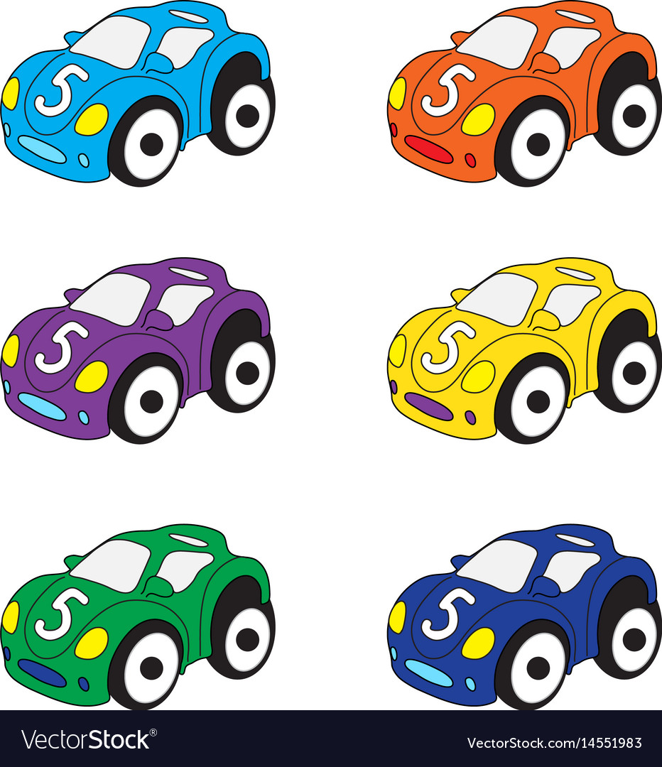 Kids Cars Cartoon Set Cars Toys Royalty Free Vector Image