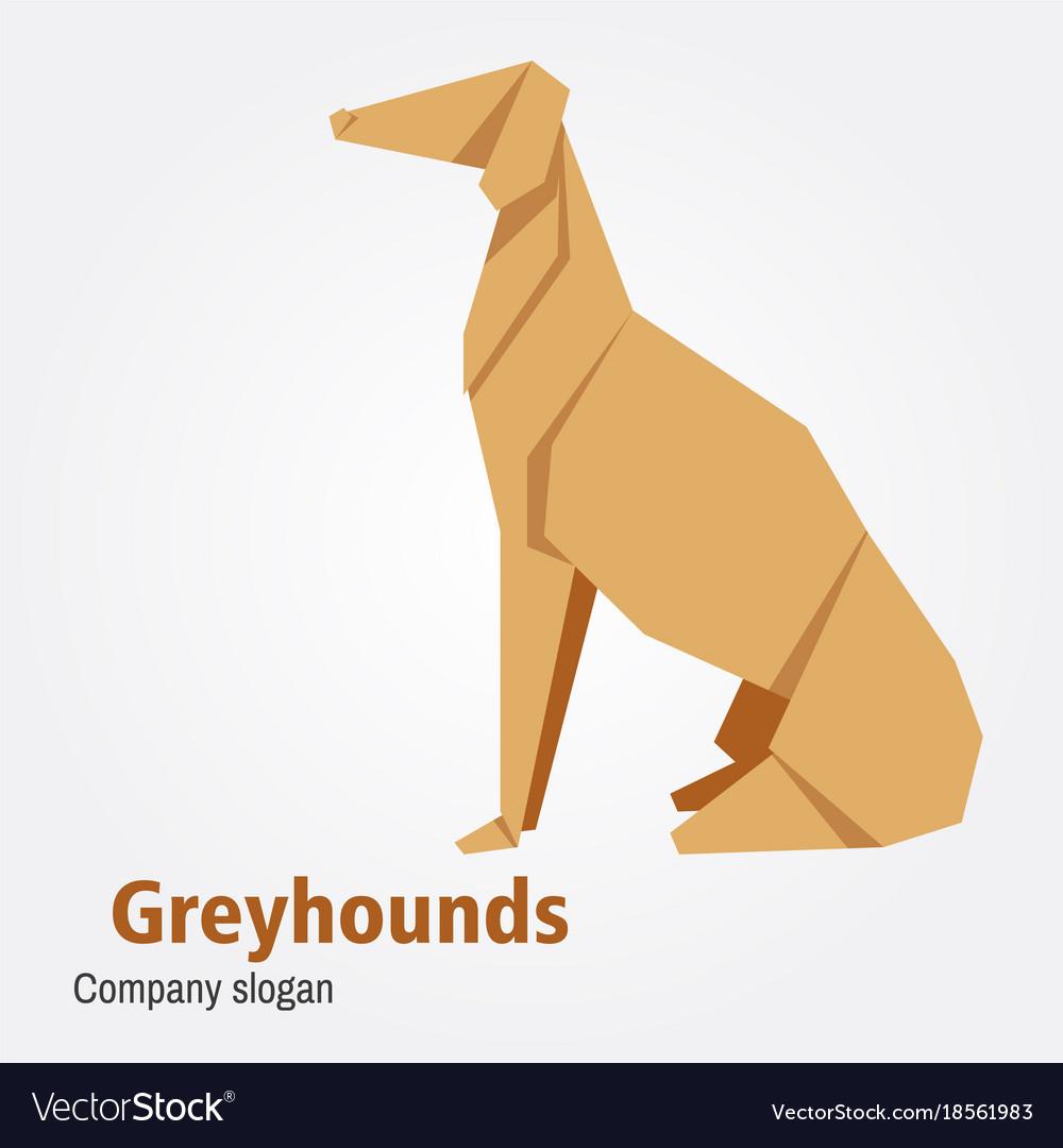 Origami Dog Breed Greyhound Royalty Free Vector Image