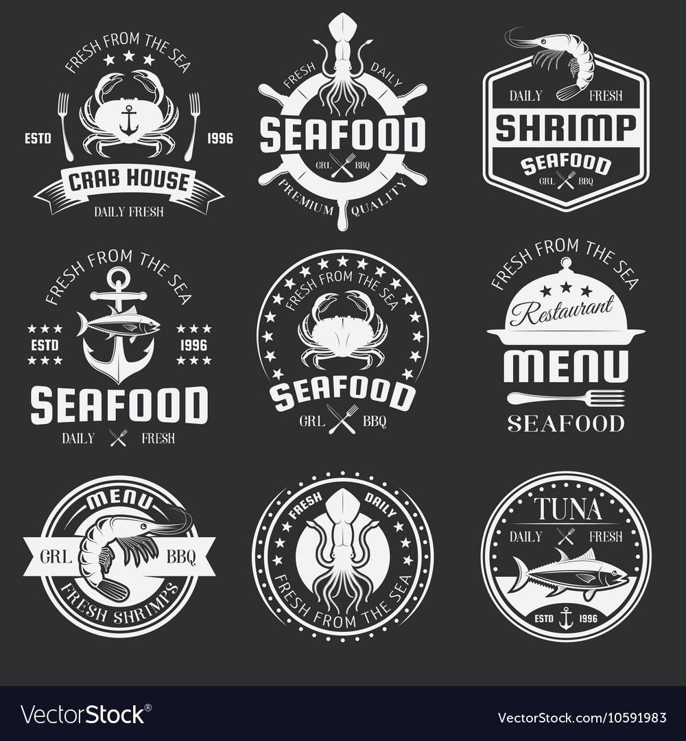 Seafood monochrome emblems