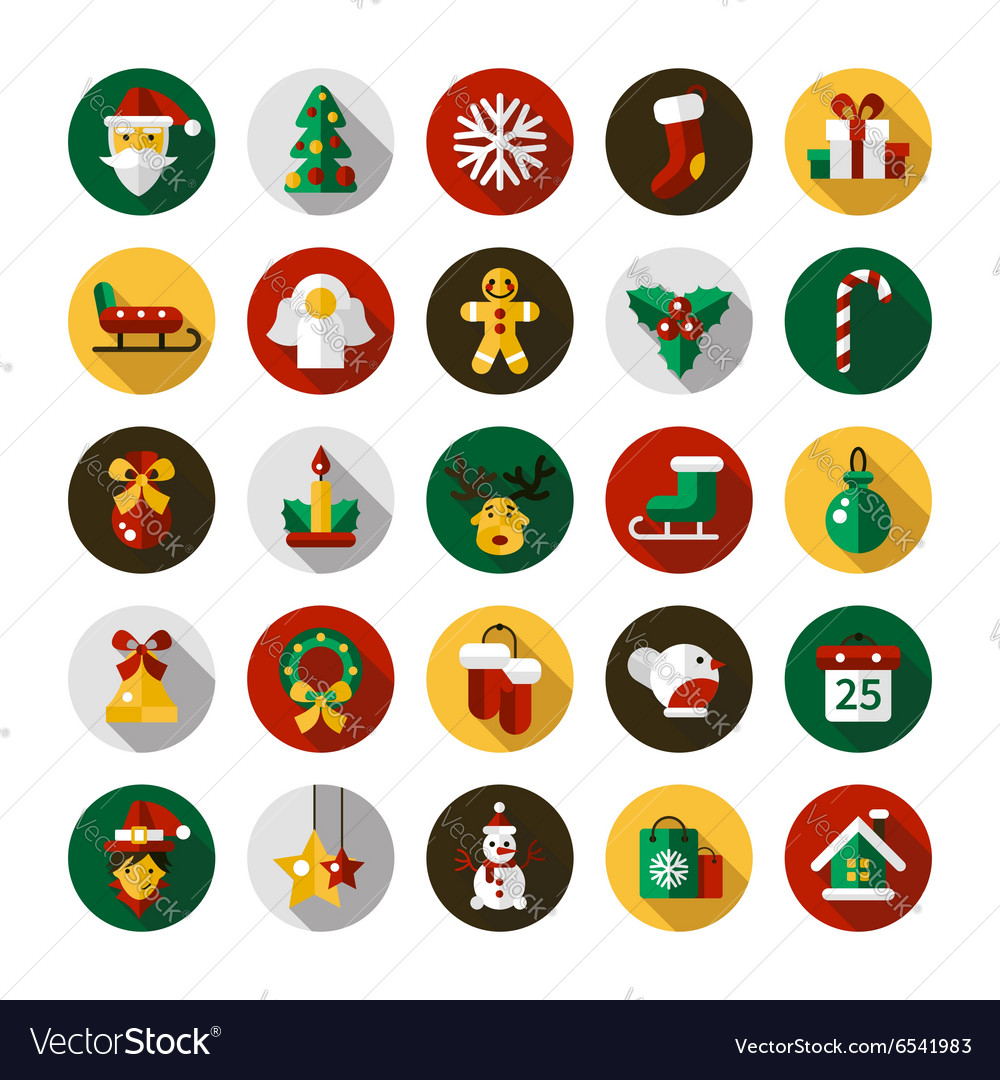 Set of Christmas and Happy New Year flat design
