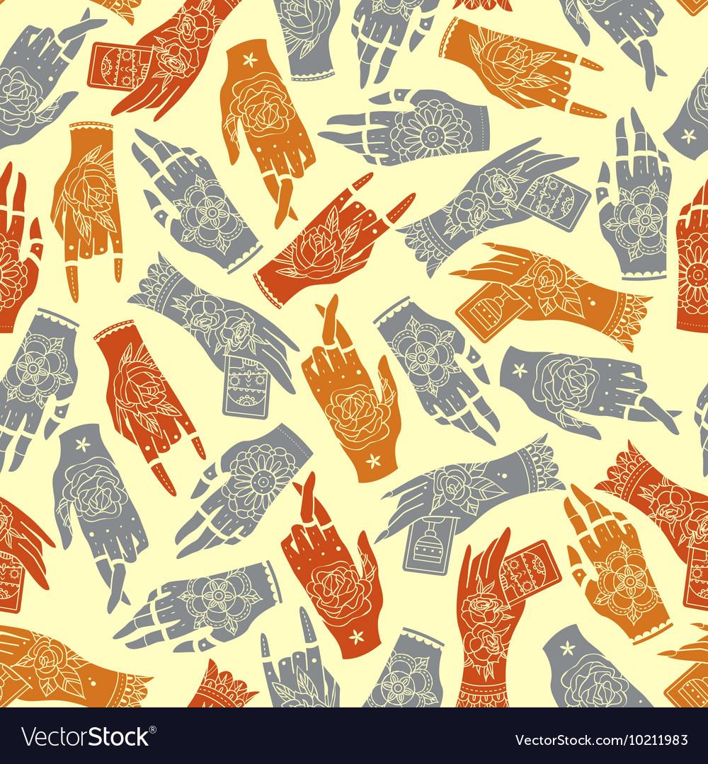 Tattoo hands seamless pattern