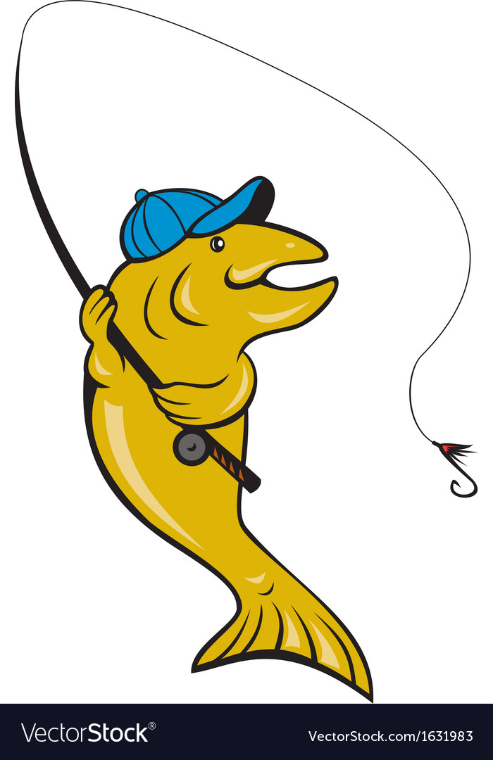 Trout fish fly fishing with rod vector image