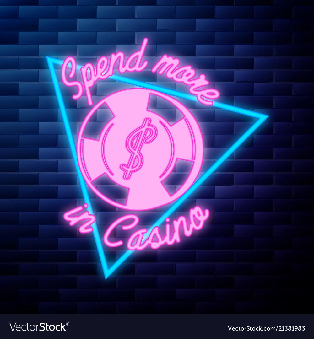 Vintage casino emblem glowing neon