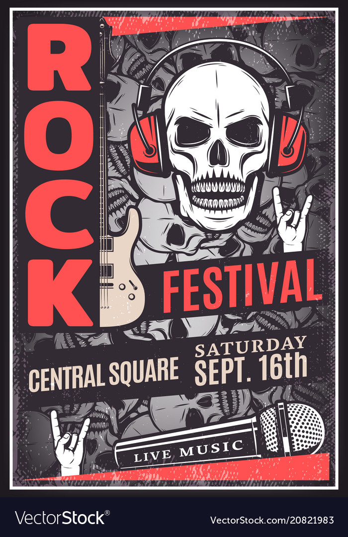 Vintage rock music festival advertising poster