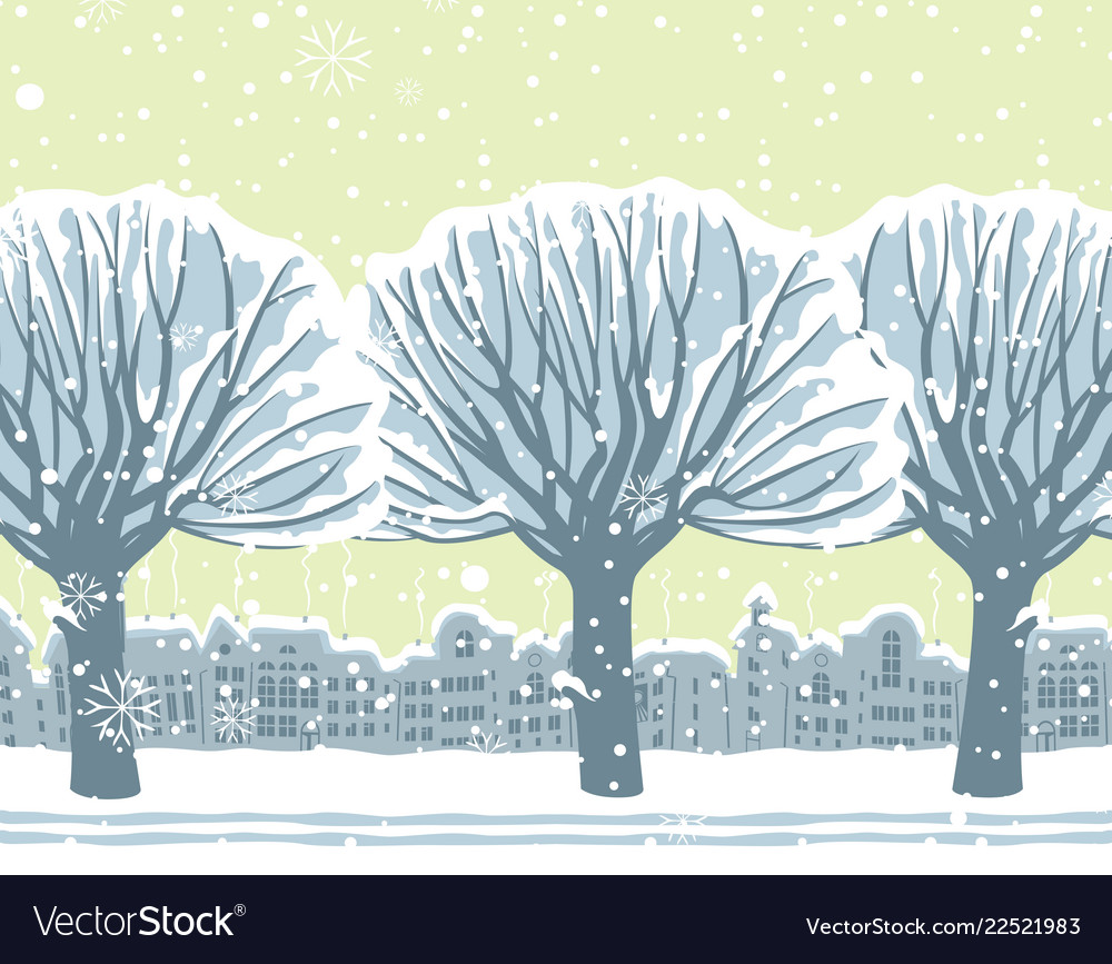 Winter cityscape with snow-covered trees in park