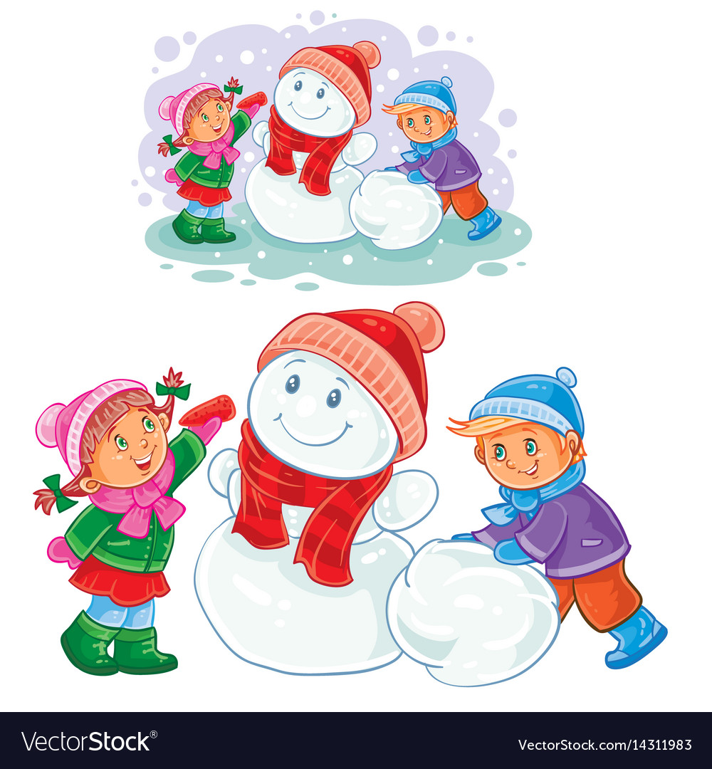 Winter of small children make snowmen