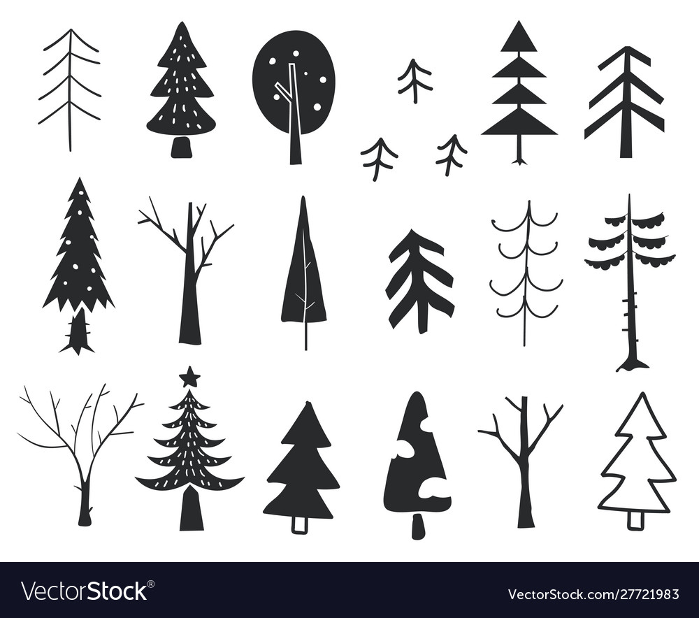 Winter trees new year and christmas trees hand