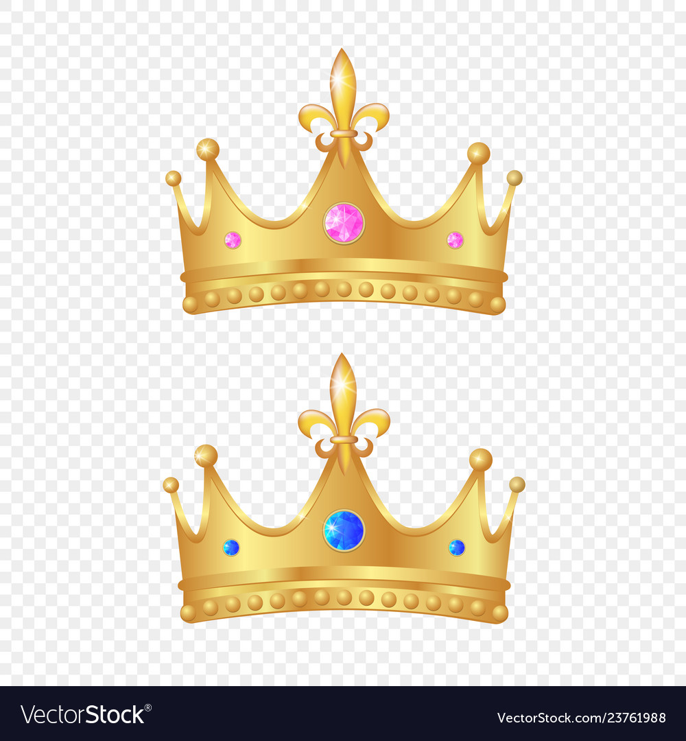 3d realistic golden crown set