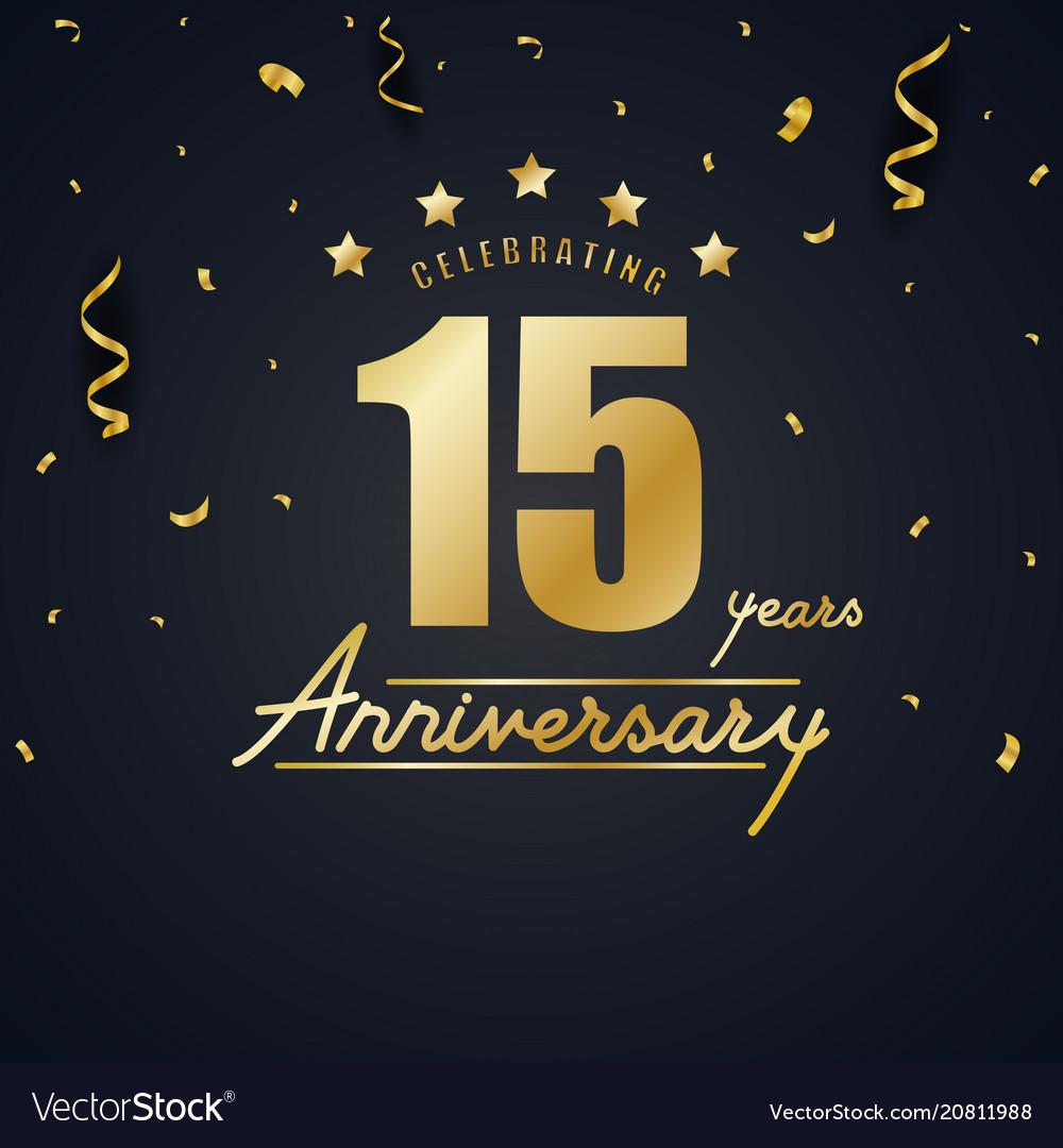 Anniversary celebration design with gold confetti