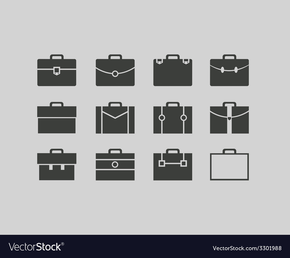 Black briefcase icons set background