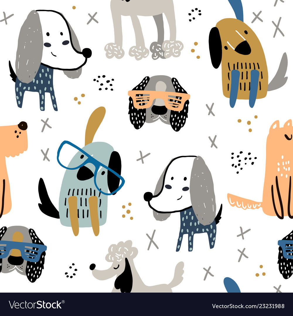 Childish seamless pattern with funny creative dogs