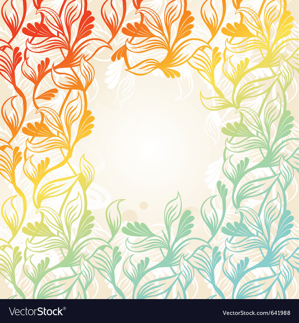 Colored floral frame vector image