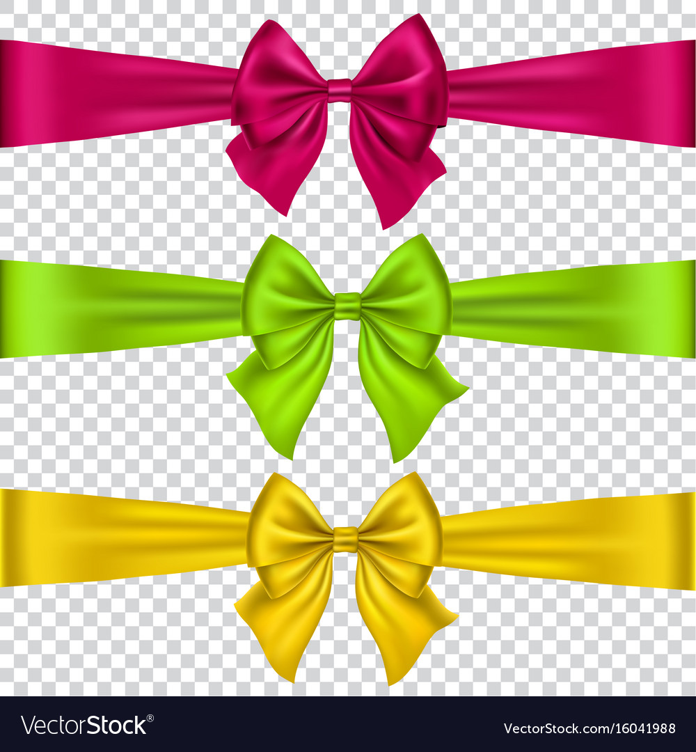 Colorful bows set isolated on transparent