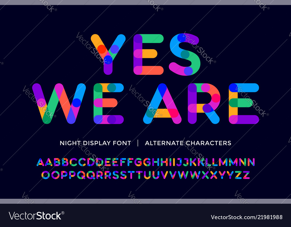 Colorful font colorful bright alphabet and font