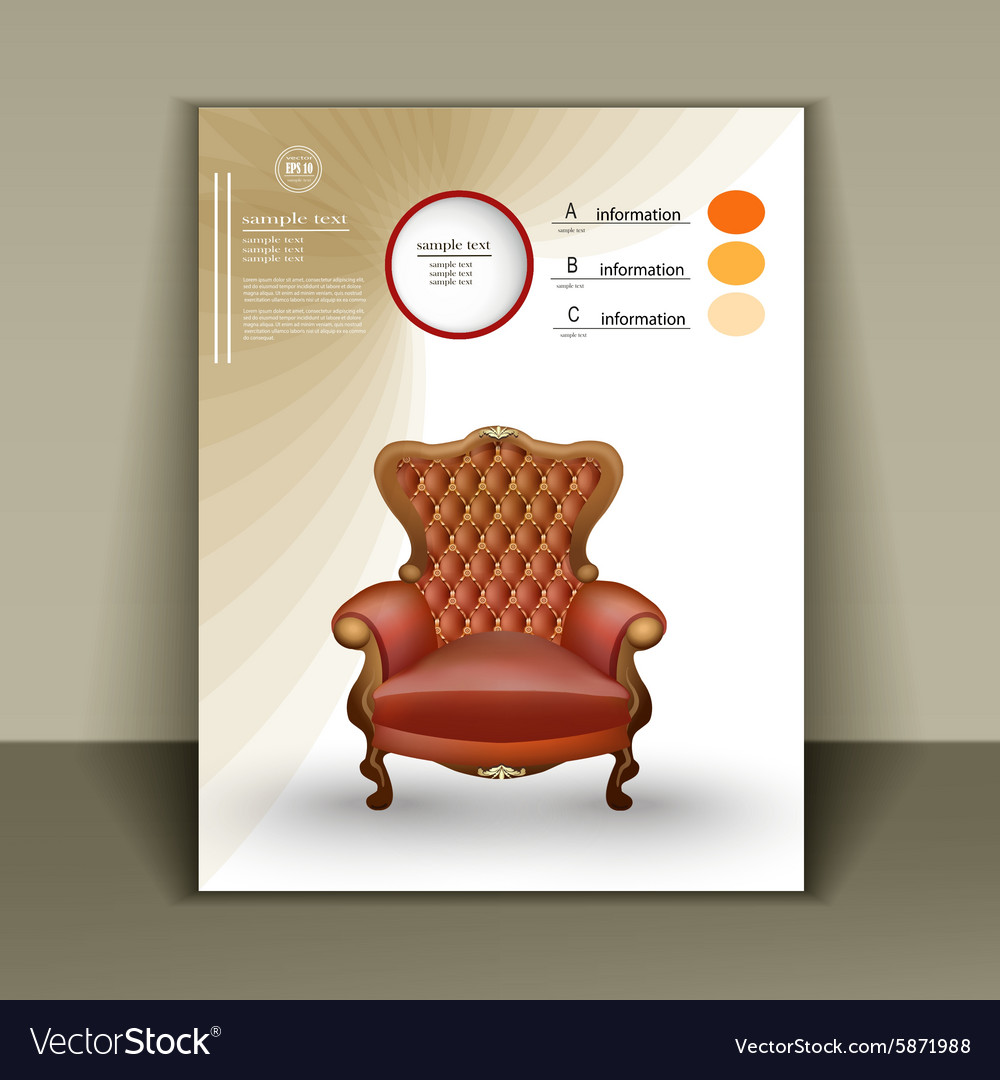 Design booklet with a luxurious chair for