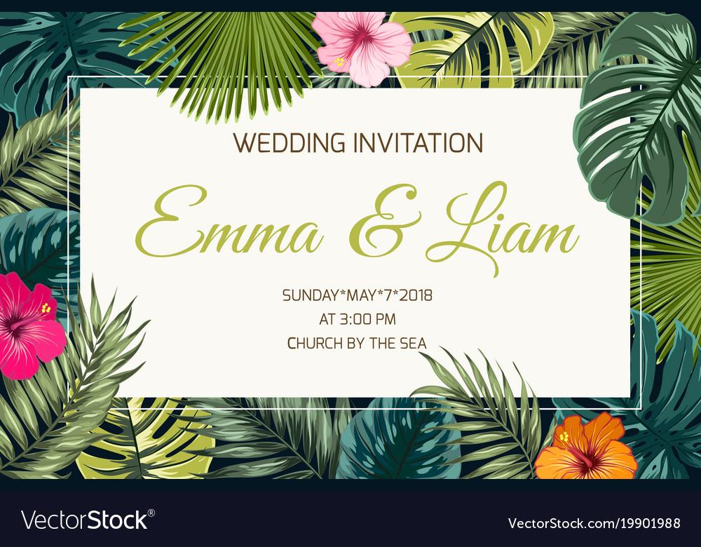 Exotic tropical jungle wedding event invitation vector image stopboris Images