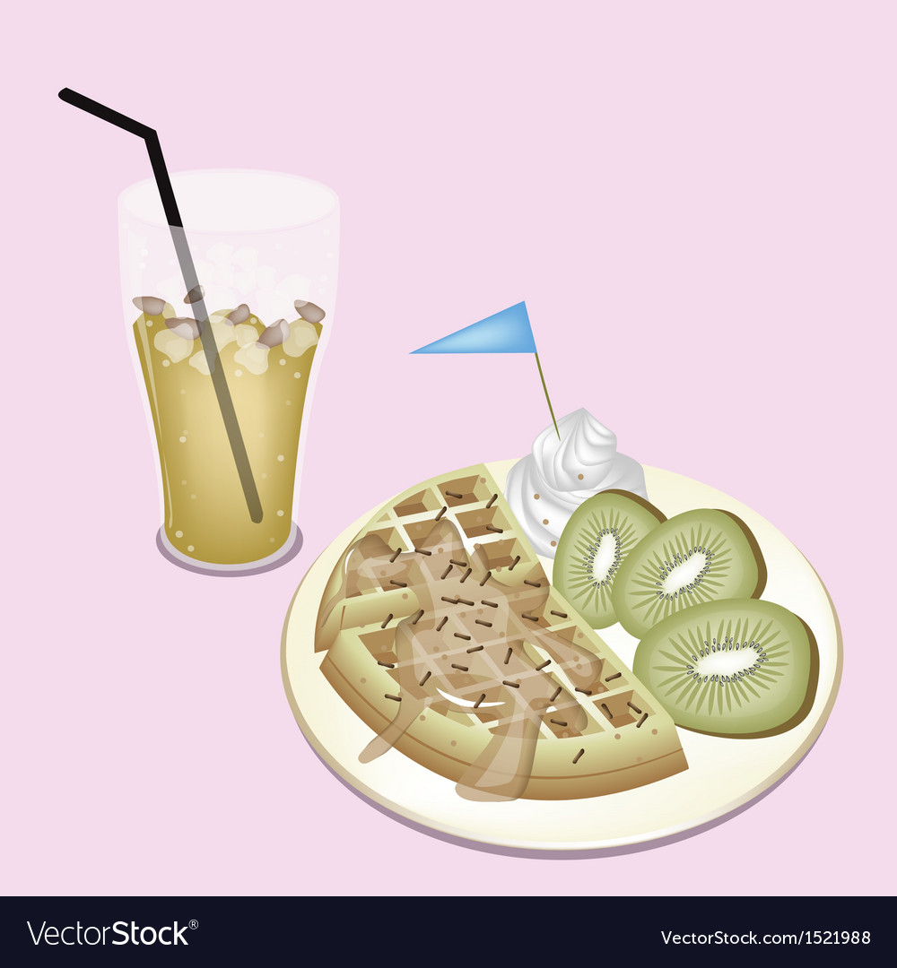 Lemon Iced Tea with Tradition Belgian Waffle vector image