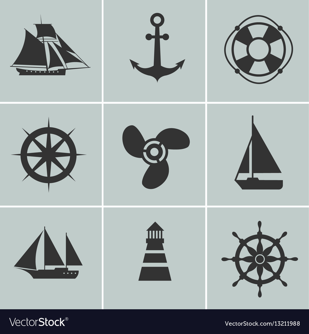 Marine and shipping icons boat ship or yacht