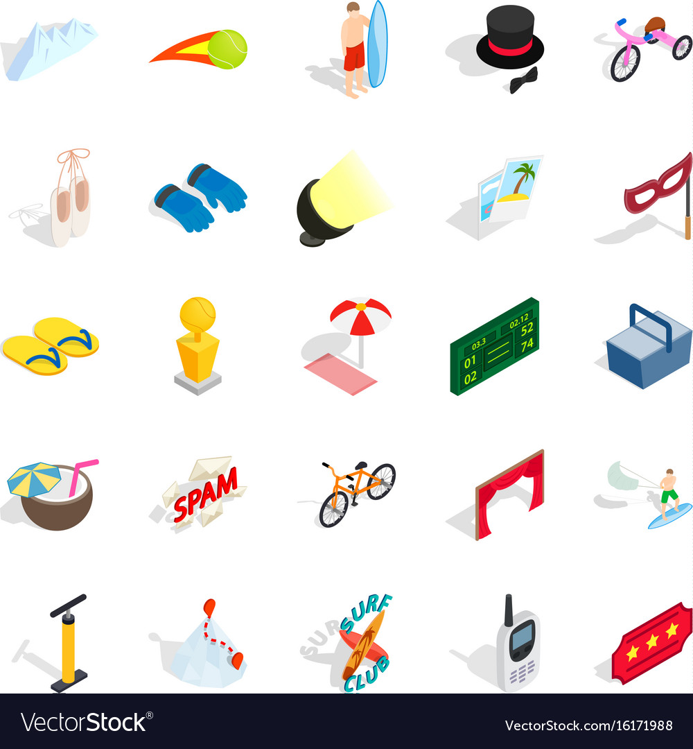 Picnic in the park icons set isometric style vector image