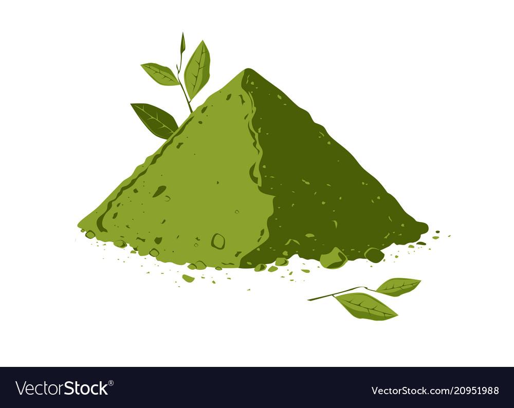 Pile Of Matcha Tea Powder With Tea Leaves Vector Image