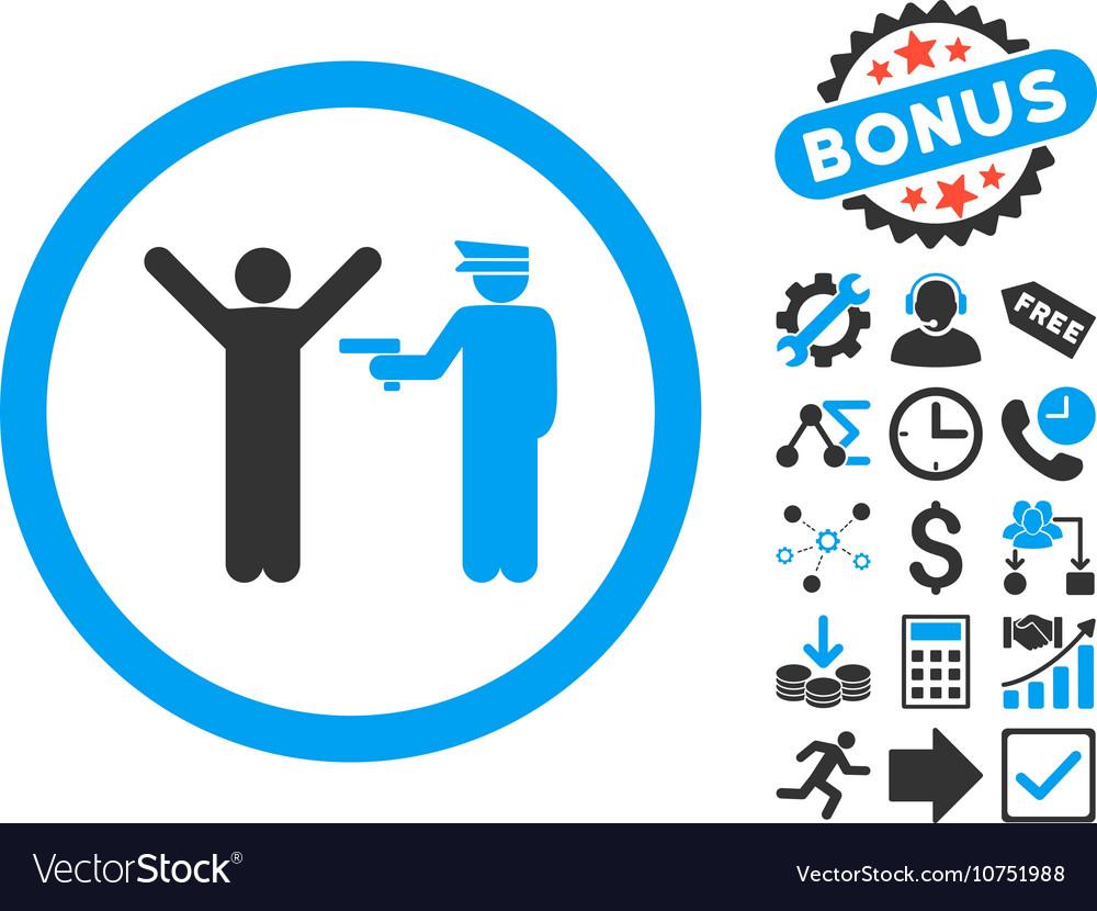 Police Arrest Flat Icon with Bonus