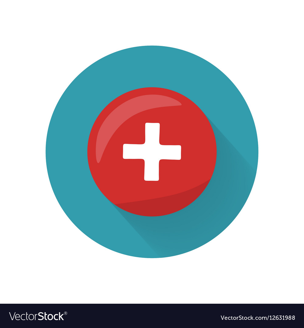 Red Cross Icon on Button First Medical Aid Sign