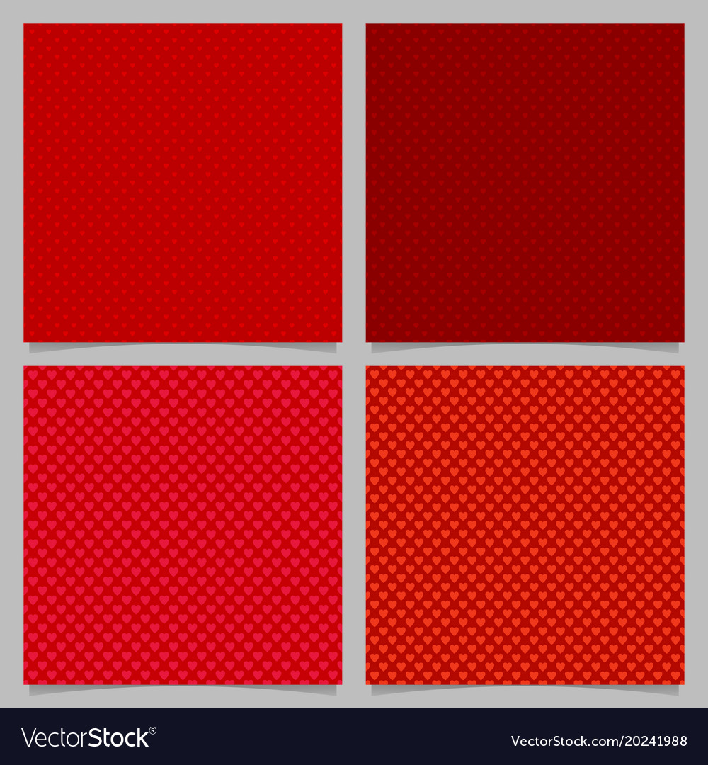 Seamless red heart pattern background set