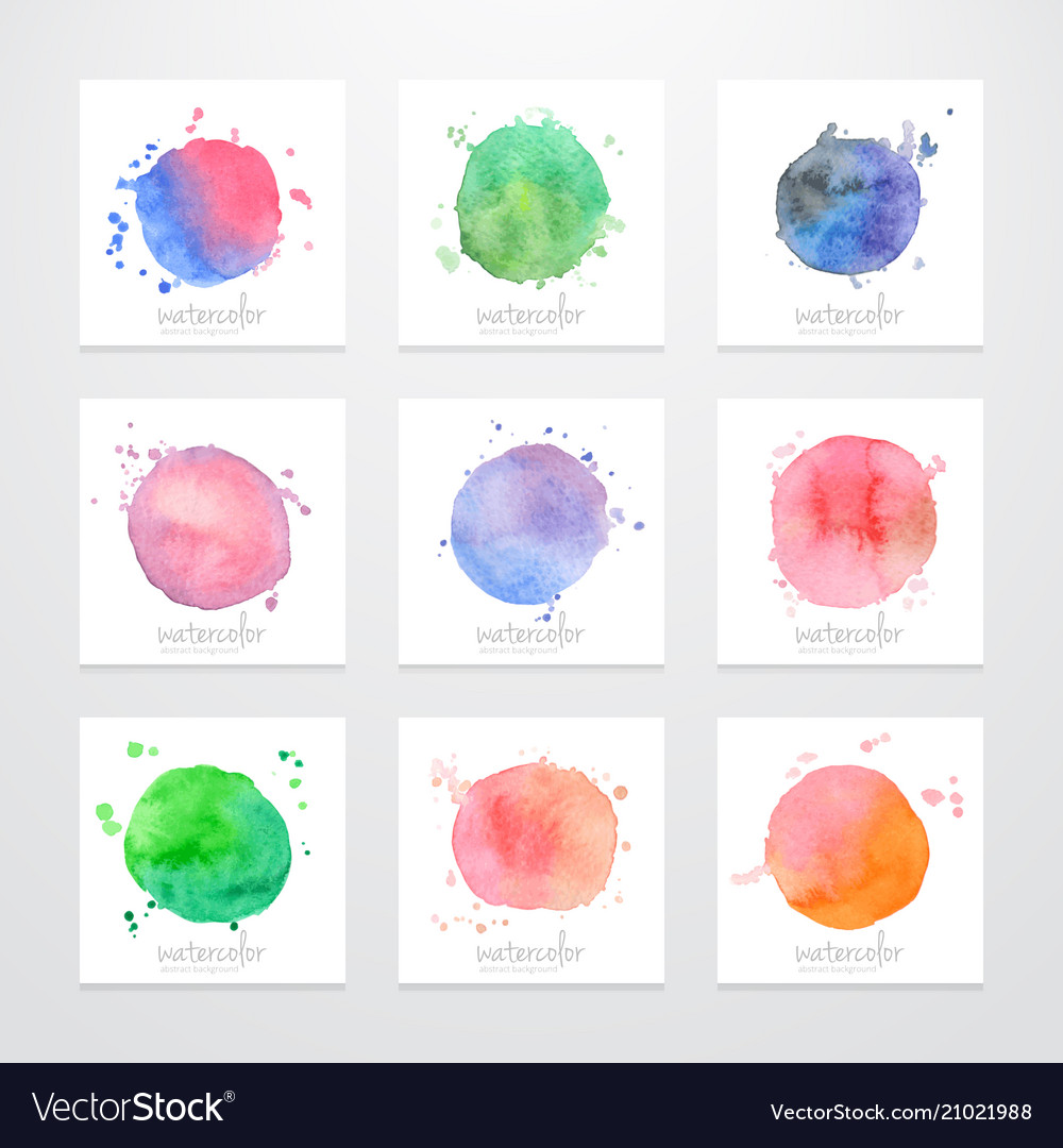 Set Of Logos Abstract Backgrounds With Watercolor