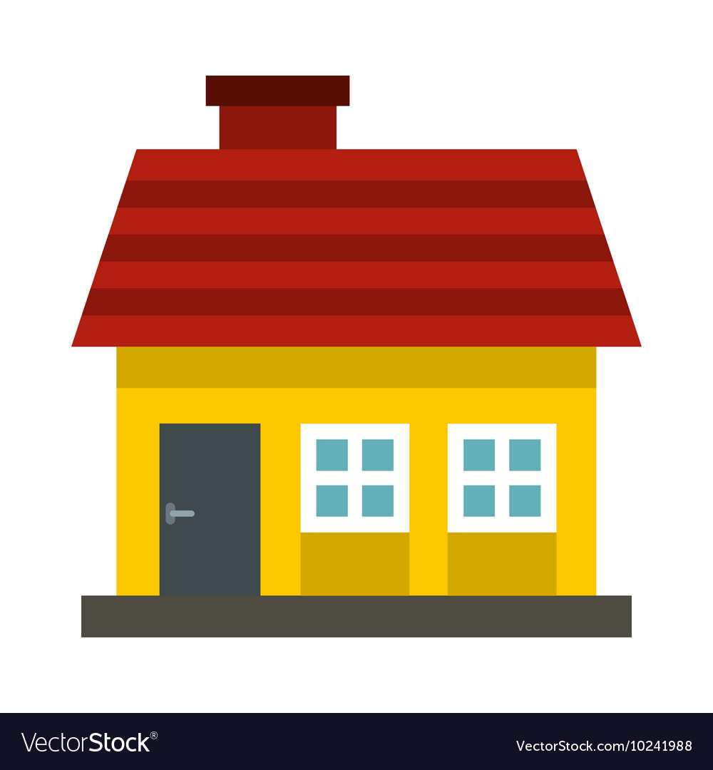 Small Yellow Cottage With Red Roof Icon Flat Style