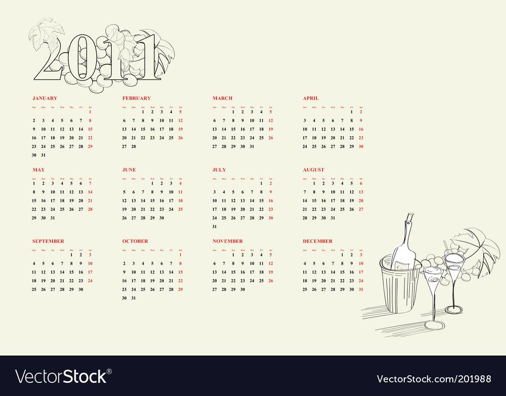 Template For Calendar 2011 Vector. Artist: Ateli; File type: Vector EPS