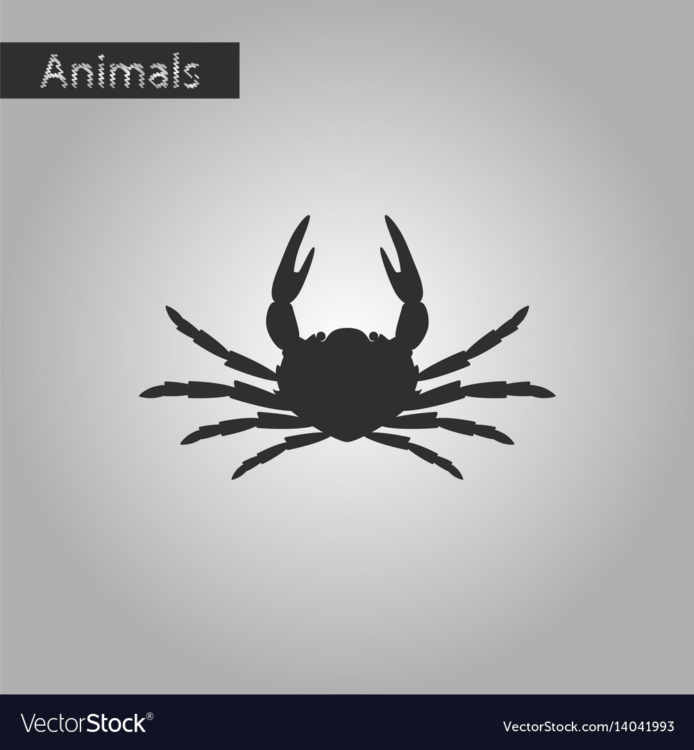 Black and white style icon of crab