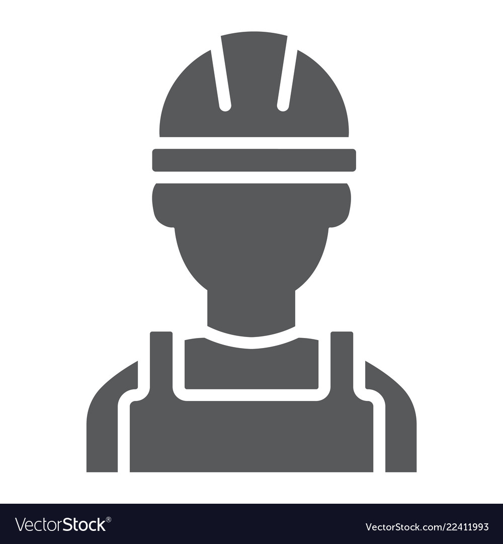Builder glyph icon engineer and man