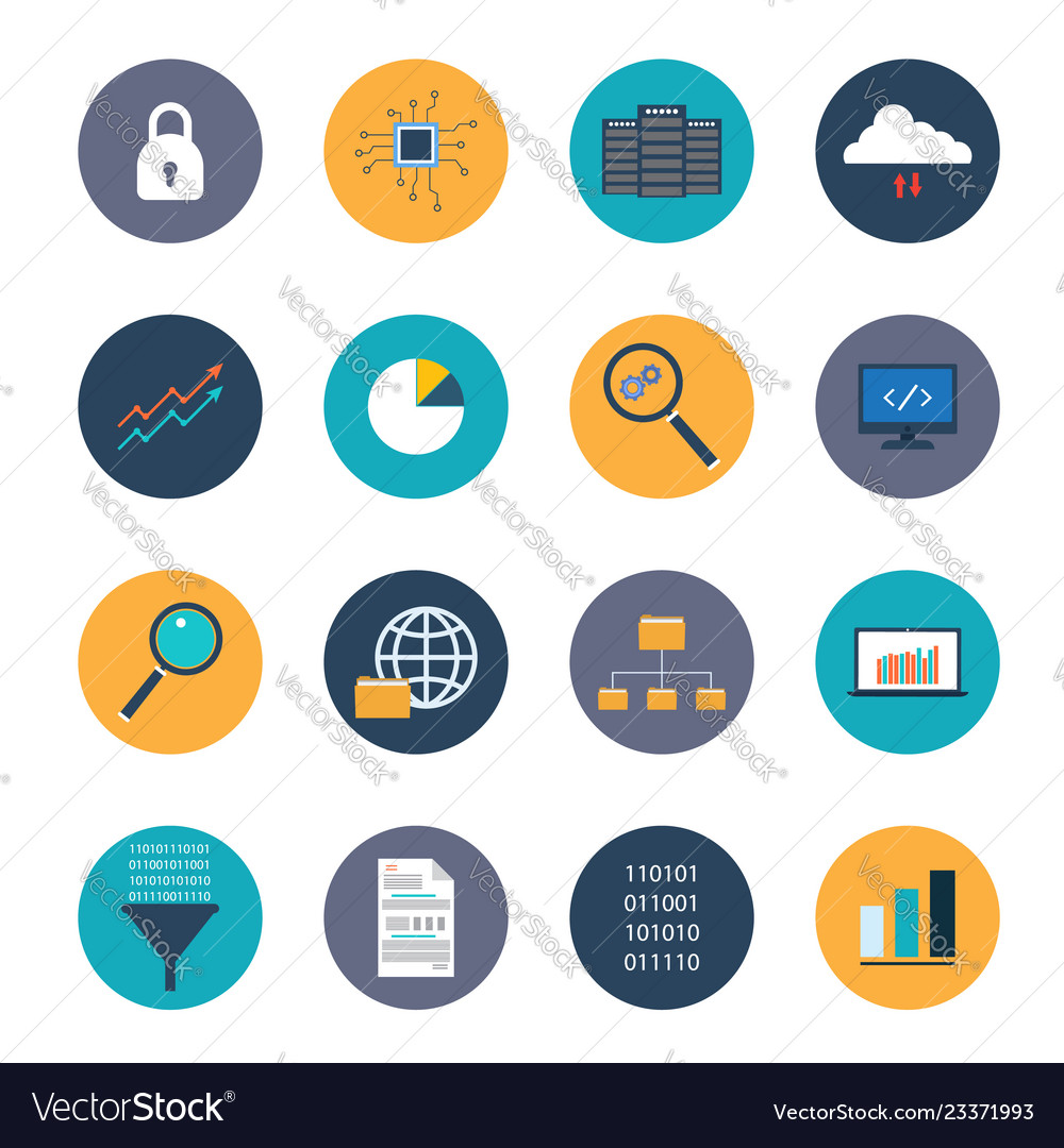 Data analysis icons set