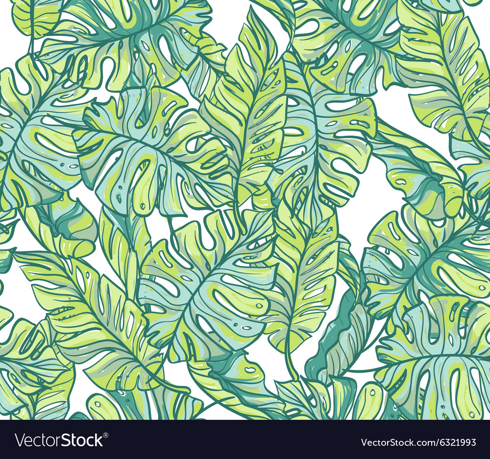 Exotic leaves rainforest Seamless hand drawn