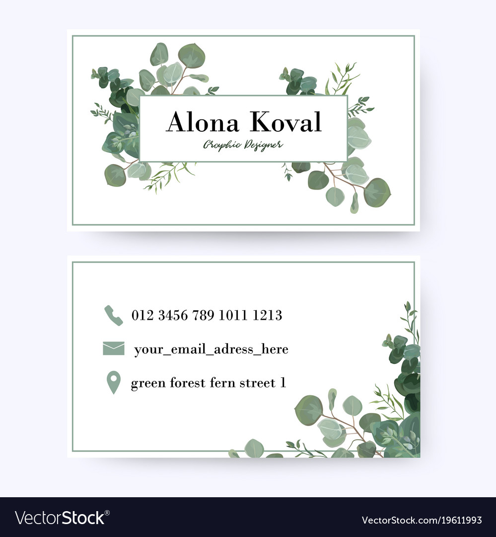 Floral business card design with eucalyptus leaves