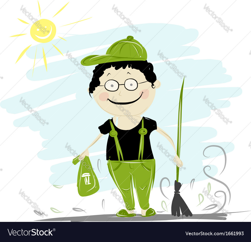 Funny janitor with broom for your design