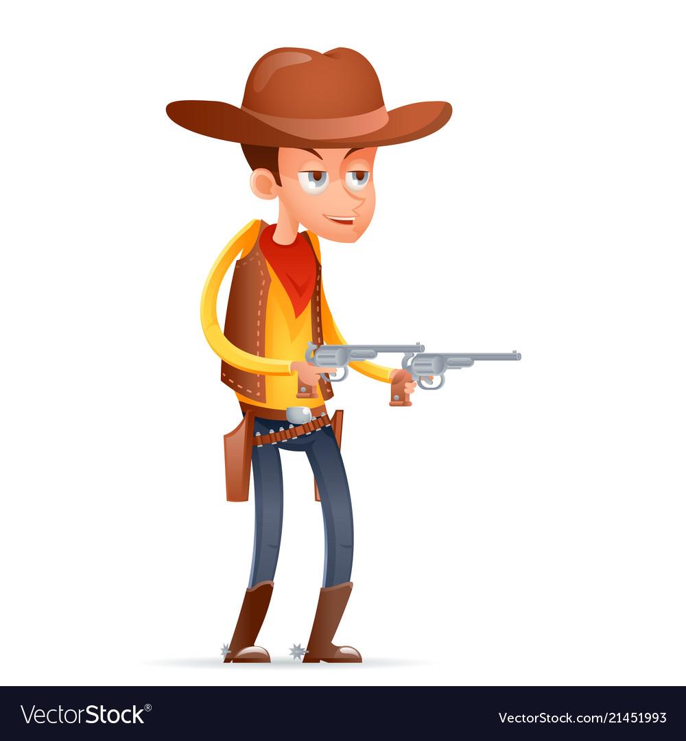 Gunman cowboy wild west american retro cartoon