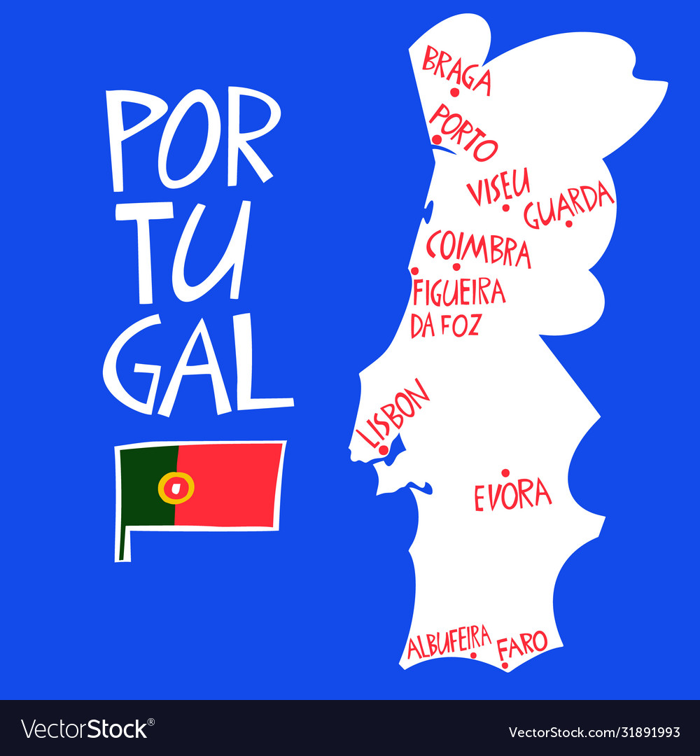 Hand drawn stylized map portugal travel of vector