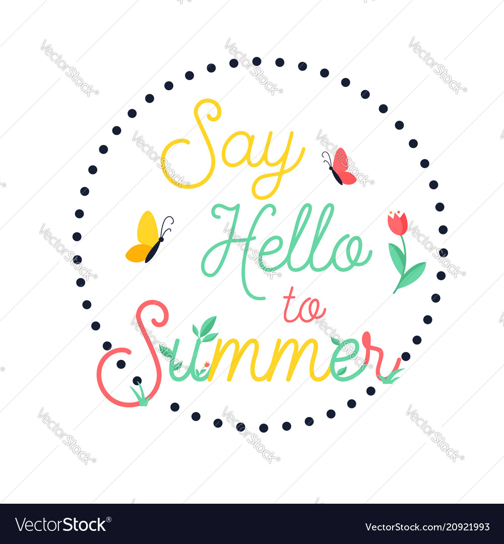 Hello summer bright poster banner
