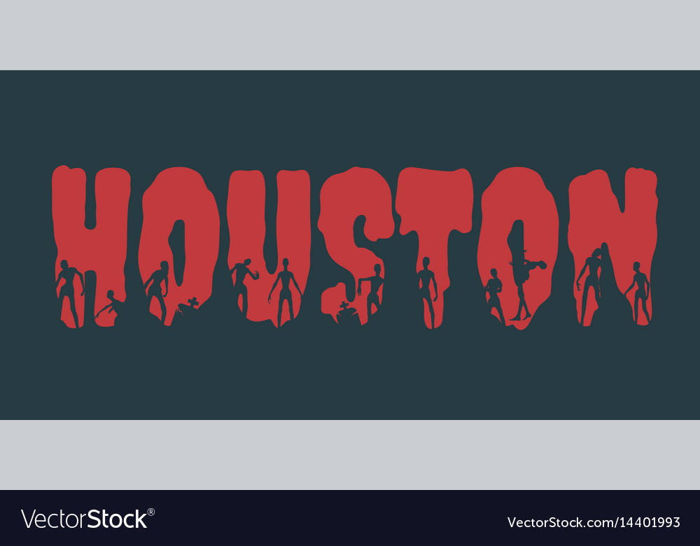 Houston city name and silhouettes on them