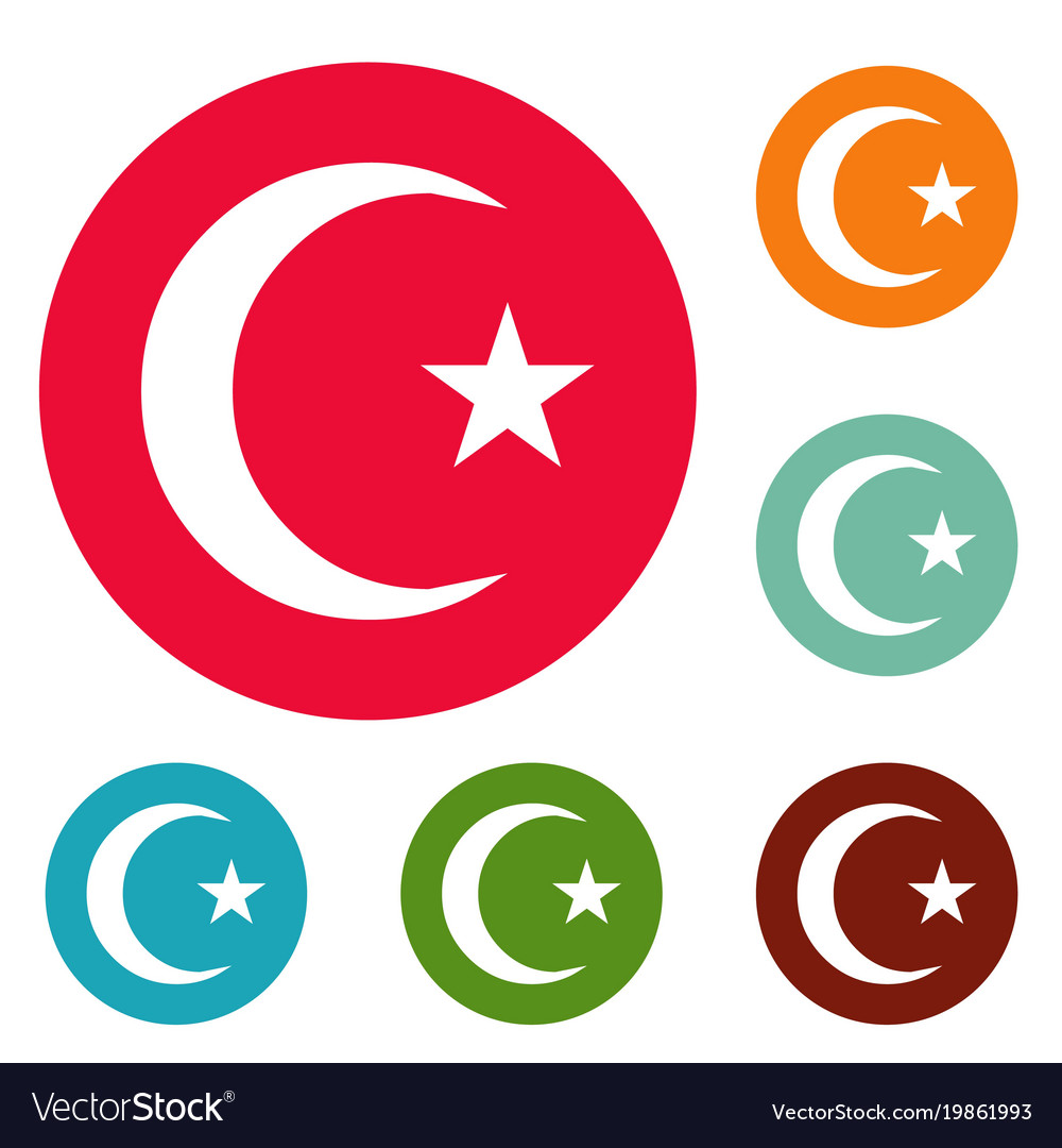 Islamic crescent moon icons circle set vector image