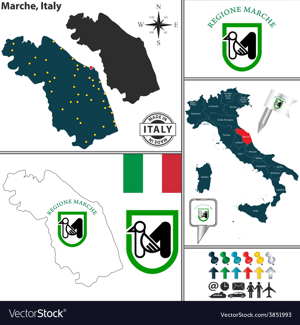 Marche Region Italy Map.Map Of Marche Royalty Free Vector Image Vectorstock