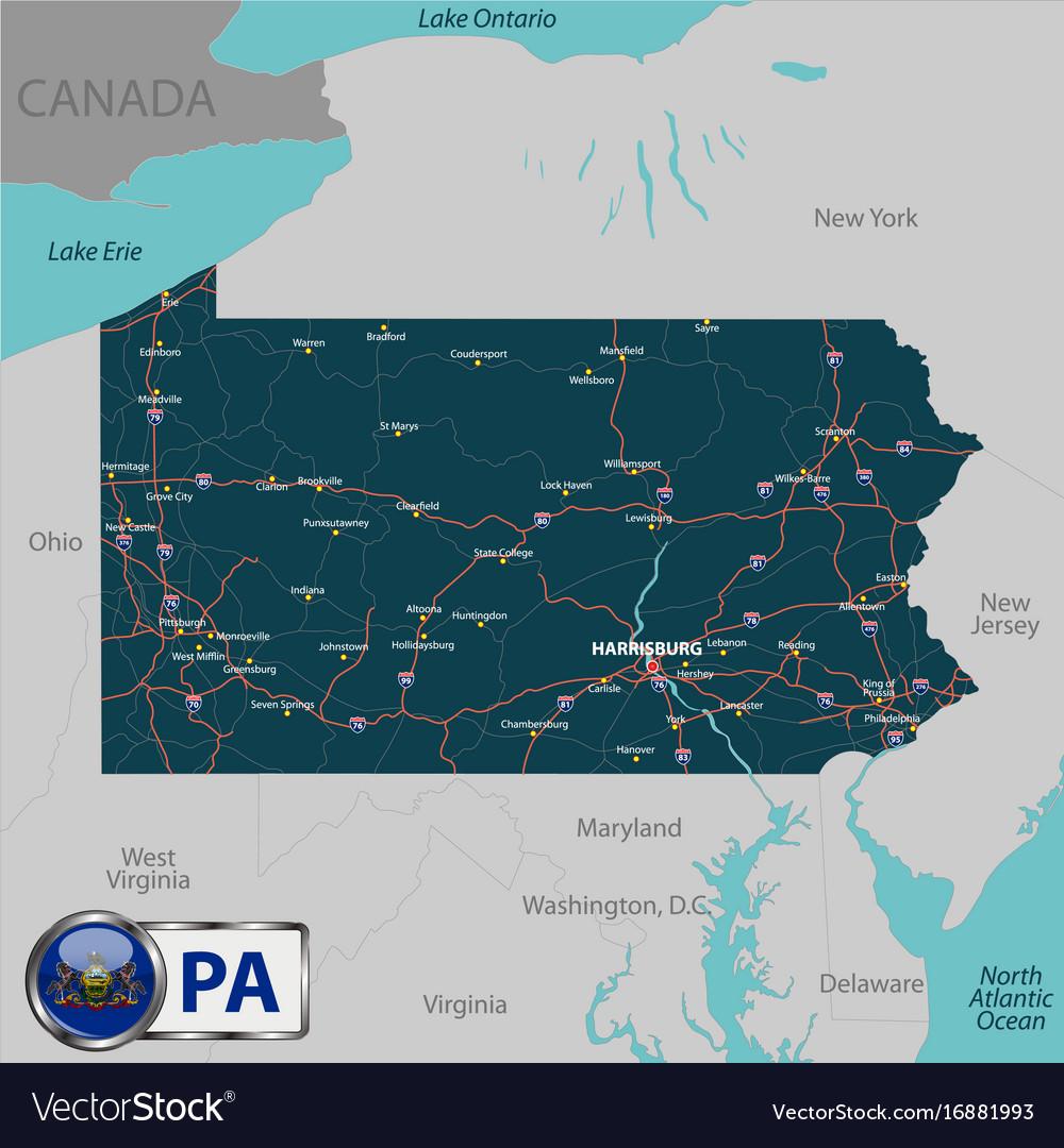 Pa Usa Map.Map Of State Pennsylvania Usa Royalty Free Vector Image