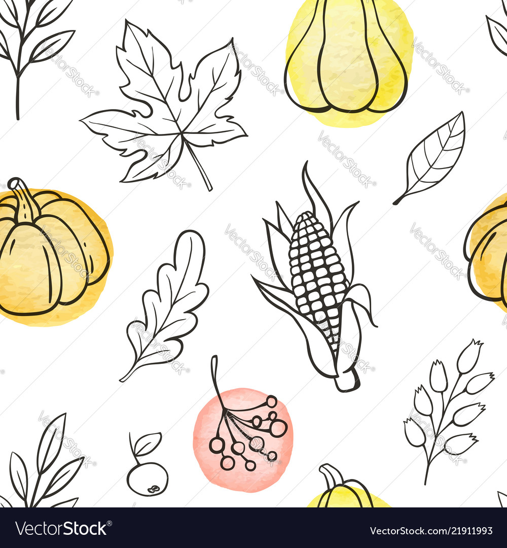 Seamless pattern with pumpkins and leaves