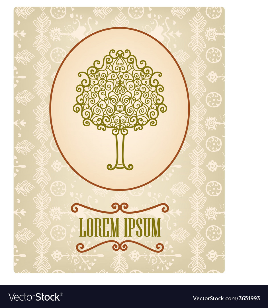 Vintage card with hand drawn tree